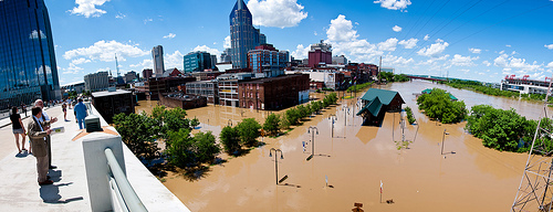 Nashville Downtown Flood Panorama by Kelsey Wynns