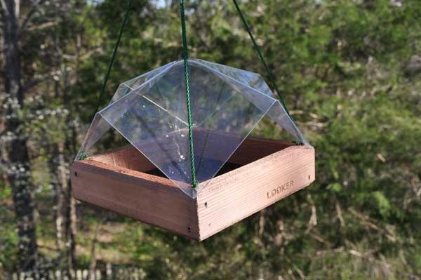 Covered bird feeder